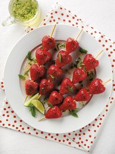 - Photo - Healthy strawberry recipe using Capri variety: Strawberry kebabs with lime and mint syrup Strawberry Kabobs, Healthy Strawberry Recipes, Strawberry Desserts, Strawberry Fields, Healthy Treats, Lime Recipes, Fruit Recipes, Yummy Recipes, Breakfast Snacks