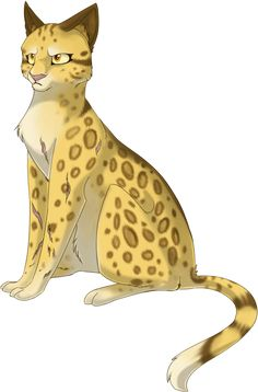 This is Leopardstar. She was the leader of RiverClan with a temper, when Tigerstar was around. She was tricked into giving her clan to Tigerstar to form TigerClan. She then helped Firestar and Tallstar to defeat BloodClan.