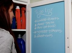 Use colored chalkboard paint to make a pretty to-do list inside a cabinet