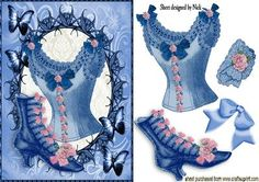 LADIES EPHEMERA VINTAGE BASQUE AND SHOES IN BUTTERFLY FRAME on Craftsuprint - Add To Basket!