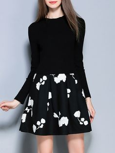 #AdoreWe #StyleWe Pan Ruo Black Paneled  Floral Long Sleeve Mini Dress - AdoreWe.com