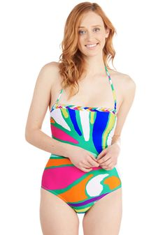 Splash of Color One-Piece Swimsuit. Burst onto the seaside scene looking vivacious and vogue in this vibrant bathing suit by Trina Turk. #multi #modcloth