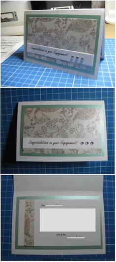 Blue & brown handmade engagement card - Han-crafted (c)