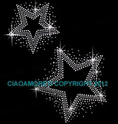 Set of 2 Star Clear Rhinestone Iron on Hotfix Transfer Star Bling DIY: This is a regular iron on that you can easily apply to a cotton fabric with home iron. Instructions and extra rhinestones included! Mandala Painting, Dot Painting, Images Noêl Vintages, Rhinestone Art, Rhinestone Appliques, Crystal Design, Amazon Art, String Art, Beaded Embroidery