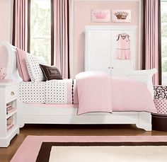 Love brown and pink for a girls room! PERFECT shade of pink