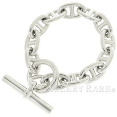 HERMES-Bracelet-Chaine-dAncre-TGM-Silver-925-Accessory-Authentic-3177617