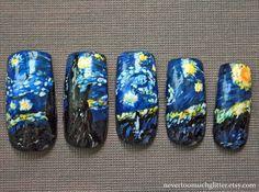 Japanese Nail Art Starry Night Custom by Nevertoomuchglitter, $36.00