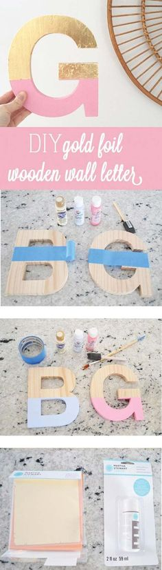 Pink DIY Room Decor Ideas - DIY Gold Foil Letter Art - Cool Pink Bedroom Crafts and Projects for Teens, Girls, Teenagers and Adults - Best Wall Art Ideas, Room Decorating Project Tutorials, Rugs, Lighting and Lamps, Bed Decor and Pillows http://diyprojectsforteens.com/diy-bedroom-ideas-pink Teenage Girl Room Decor, Teen Girl Bedrooms, Job S, Bedroom Lamps, Suitcase, Cats, White Tiles, Bright Green, Wall Colors