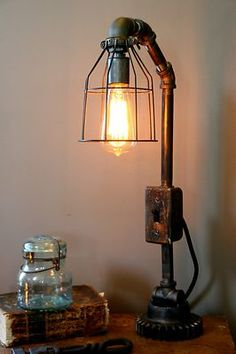 Steampunk Lamp Industrial Art Machine Age Salvage Steam Gauge Light Boiler Room