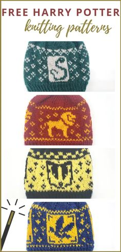 Blending my love for the Harry Potter series with my love for knitting, I've designed four knit hats representing each of the Hogwarts houses. These free Harry Potter knitting patterns are available for any crafter who'd love to rep Gryffindor, Ravenclaw, Double Knitting Patterns, Love Knitting, Easy Knitting, Knitting For Beginners, Crochet Stitches, Knit Crochet, Christmas Knitting Patterns, Tricot Harry Potter, Groomsmen