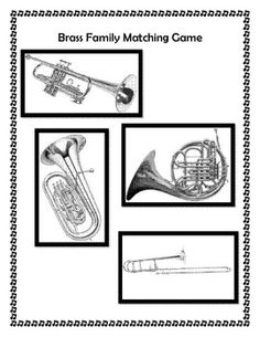 FREE on TpT - Brass Family Folder Matching Game - The Sweetest Melody