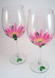 Hand Painted Wine Glasses Flowers | Pink lotus flowers hand painted wine glasses set of 2 by RaeSmith