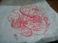 #seamonster #kracken #squid #ship #pirate #boat #deathatsea #deadsea #evil #sketch #art #standingart #tattoosbyeighjay Octopus Artwork, Make Tattoo, Tattoo Art, Pirate Boats, Octopus Tattoos, Pirate Life, Sea Monsters, Tattoo Sketches, Blog