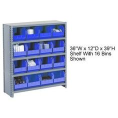 Bin Shelving Closed Shelving 36x12x39 by Global Industrial. $169.95. STEEL SHELVING WITH PREMIUM BINS Closed shelving for added strength and cleanness! The convenient organizer for parts and accessories, perfect for production and assembly. Includes tough polypropylene plastic bins featuring finger grips for easy handling, anti-slide stops and reinforced ribs to prevent spreading when full. Large label slots help provide quick inventory identification. CLOSED style shelvin...