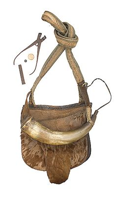 Early hunting pouch, powder horn and bullet mold.  google.com