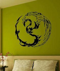 WALL VINYL STICKER DECAL ART MURAL YIN AND YAN DRAGONS CUTE DESIGN K439 #MuralArtDecals