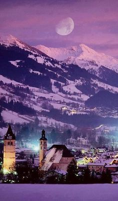 """Kitzbühel is a medieval city in Tyrol, Austria, now best known as a ski resort . Kitzbuhel is considered the """"Pearl of the Alps"""" and is the most famous holiday Places Around The World, Oh The Places You'll Go, Places To Travel, Places To Visit, Beautiful World, Beautiful Places, Beautiful Pictures, Beautiful Moon, Amazing Places"""