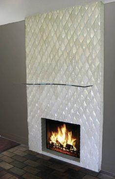 Grey Glass Mosaic Tile Fireplace Surround Maybe A Ribbon