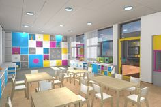 Modern Schools Interior With A Splash Of Color Colorful Elementary Computer Lab Home Design