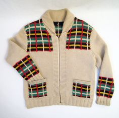 Vintage Sweater Cowichan Style Wool Plaid Curling Mary Maxim Graph Jacket