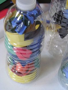 great way to use recycled water bottles to create art and practice fine motor skills at the same time