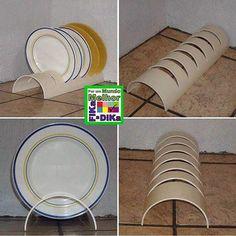 Wonderfull DIY PVC Projects – rustic home diy Pvc Pipe Crafts, Pvc Pipe Projects, Diy Projects, Diy Kitchen Storage, Kitchen Organization, Diy Home Crafts, Diy Home Decor, Diy Plate Rack, Plate Holder