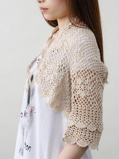 verseauHigh twist cotton crochet bolero
