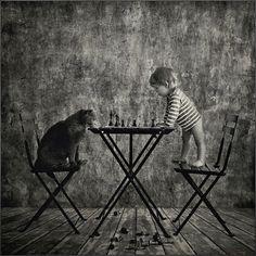 Le photographe russe, Andy Prokh a pris ces délicieuses photos de sa jeune fille Catherine avec leur chat (un british shorthair gray). Il met en scène ces deux protagonistes dans des situations un peu improbables et drôles (partie d'échec, problèmes mathématiques, cours de musique…)