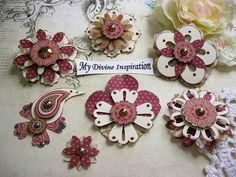 MME A Happy Heart Handmade Paper Embellishments and Paper Flowers for Scrapbook Layouts Cards Mini Albums Tags and Papercrafts