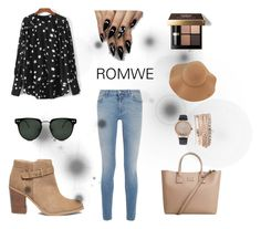 """Black blouse- ROMWE"" by benelux2 ❤ liked on Polyvore featuring Givenchy, Sole Society, MANGO, Jessica Carlyle, Sans Souci, Spitfire and Bobbi Brown Cosmetics"