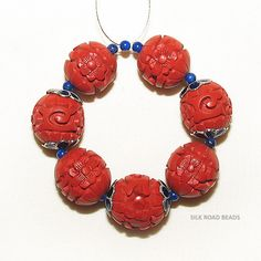 7 vintage hand carved chinese red cinnabar beads w enamel caps & lapis #75a  朱砂珠