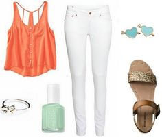 Casual white jeans outfit |  Gold strap sandals, White skinnies, Orange/Coral sleeveless tank | Mint polish, Silver bracelet, &Rings