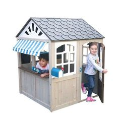 modern outdoor playground playhouse Wooden Outdoor Playhouse, Cedar Lumber, Play Food Set, Water Based Stain, Cafe Style, Big Girl Rooms, Imaginative Play, Planter Boxes, Play Houses