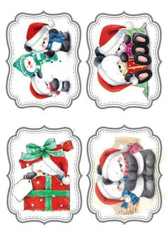 "Photo from album ""Новогодние ярлычки"" on Yandex. Christmas Scenes, Christmas Animals, Christmas Pictures, All Things Christmas, Christmas Holidays, Christmas Topper, Christmas Gift Tags, Xmas Cards, Vintage Christmas"