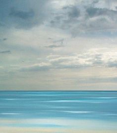 Beach art ocean beach blue sea painting tropical by FradetFineArt, $40.00