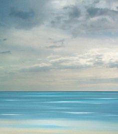 Beach art ocean beach blue sea painting tropical by FradetFineArt, $40.00