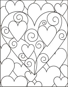 Beautiful hearts design to use for crafting or to print and color. Colouring Pages, Adult Coloring Pages, Coloring Books, Heart Template, Stained Glass Patterns, Valentine Day Crafts, Art Plastique, Op Art, Quilting Designs