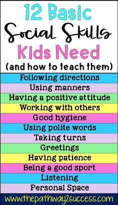 Basic social skills kids and teens need along with several activities for how to teach them Use these free ideas to help students improve skills for listening taking turn. Social Skills Lessons, Social Skills For Kids, Social Skills Activities, Teaching Social Skills, Social Emotional Learning, Life Skills Kids, Character Education Lessons, Childcare Activities, Lessons For Kids