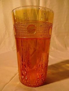 51 BEADED SPEARS ANTIQUE  CARNIVAL GLASS VINTAGE TUMBLER 1930s JAIN OLD AND RARE