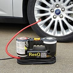 """Premium Tire Repair System  -$69.95- Is like a Spare Tire!  This Premium Tire Repair System effectively seals punctured tires of larger vehicles such as SUVs, mini-vans, and passenger cars. Powered by your vehicle's 12v accessory port with an extra-long 12' cord, System injects a liquid gel into flat tires that repairs punctures of up to a 1/4"""". The built in air compressor then properly inflates the tire letting you safely drive up to 120 miles."""