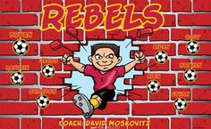 Rebels B53536-2of2  digitally printed vinyl soccer sports team banner. Made in the USA and shipped fast by BannersUSA.  You can easily create a similar banner using our Live Designer where you can manipulate ALL of the elements of ANY template.  You can change colors, add/change/remove text and graphics and resize the elements of your design, making it completely your own creation.