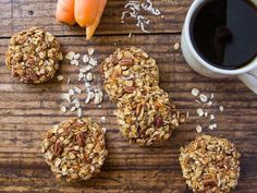 These carrot cake breakfast cookies are a perfect healthy morning treat with whole grain oats, carrot, coconut and pecans. They are vegan, gluten free, oil free and clean eating.
