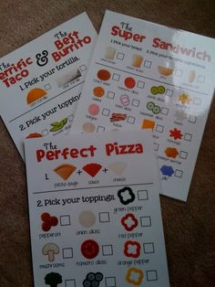"""Preschool Printables: Free These are so cute! I laminated them so their """"customers"""" can fill them out with a dry erase marker and they can be used again and again! Dramatic Play Themes, Dramatic Play Area, Dramatic Play Centers, Preschool Centers, Preschool Classroom, Preschool Activities, Classroom Ideas, Restaurant Themes, Preschool Restaurant"""