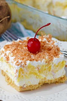 This Pina Colada Poke Cake is your favorite Pina Colada cocktail in delicious and easy poke cake form! You start with a box cake mix that is easily doctored up and you end up with this perfect and so easy dessert. 13 Desserts, Summer Dessert Recipes, Easy No Bake Desserts, No Bake Treats, Dessert Ideas, Delicious Desserts, Hawaiian Desserts, Pineapple Desserts, Spring Desserts