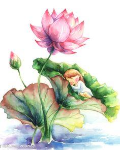 佛教莲花桌面_佛教莲花图片桌面_佛教 Lotus Flower Art, Lotus Art, Watercolor Landscape, Watercolor Flowers, Watercolor Paintings, Lotus Painting, Painting & Drawing, Illustrations, Illustration Art