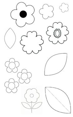 Your ultimate template collection: flowers and leaves Felt Patterns, Applique Patterns, Applique Quilts, Embroidery Applique, Flower Patterns, Felt Flowers, Diy Flowers, Fabric Flowers, Paper Flowers