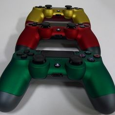 Red, gold and green #dualshock4 #controllers! Which is your favorite? #colorware #custom #gaming #designyours #builtforyou