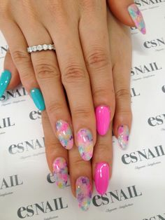 mint and pink stiletto with pastel floral print nail art design