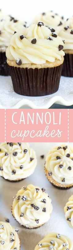 Cannoli cupcakes are made with light cinnamon cake and a creamy mascarpone frost. Cannoli cupcakes are made with light cinnamon cake and a creamy mascarpone frosting to create a treat that you won't be able to resist! No Bake Desserts, Just Desserts, Delicious Desserts, Dessert Recipes, Yummy Food, Baking Desserts, Dinner Recipes, Dessert Ideas, Cannoli Cupcake