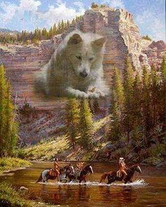 Wolf watches over his people. Native American Horses, Native American Paintings, Native American Wisdom, Native American Pictures, Native American Beauty, Native American Artists, American Indian Art, Native American History, Indian Paintings